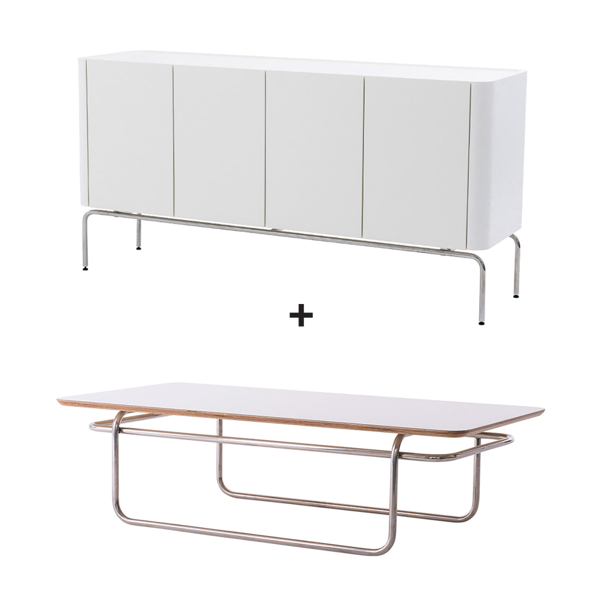 LINEA SET (SIDE BOARD WHITE1600+SOFA TABLE WHITE,BLACK)